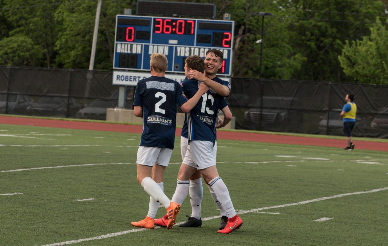 FC Buffalo celebrates one of its five goals against Syracuse FC. (RJZ Photography)