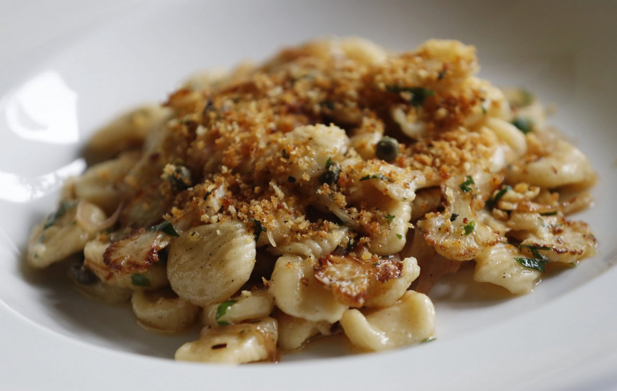Ristorante Lombardo's housemade orecchiette is prepared with caramelized cauliflower, onions, capers, parsley, brown butter, lemon zest and breadcrumbs. (Sharon Cantillon/Buffalo News)