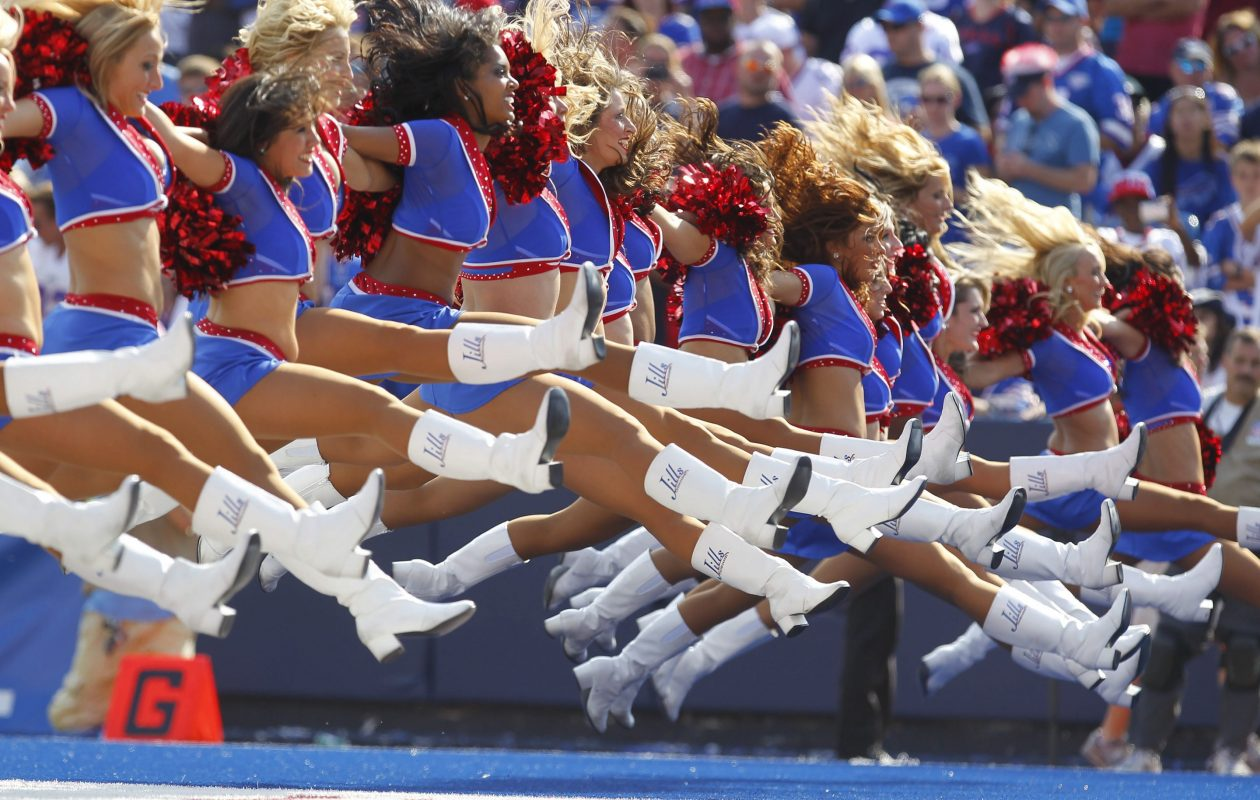 The Jills perform at a game at Ralph Wilson Stadium in September 2012. (Mark Mulville/News file photo)