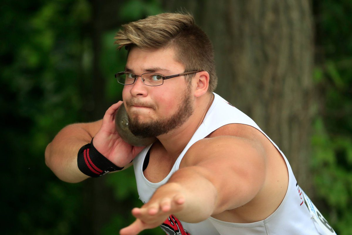 Jon Surdej of Lancaster repeated as outdoor Federation state champion Saturday and ends his scholastic career with having won two indoor and two outdoor public schools and two indoor and two outdoor Federation shot put championships. (Harry Scull Jr./Buffalo News)