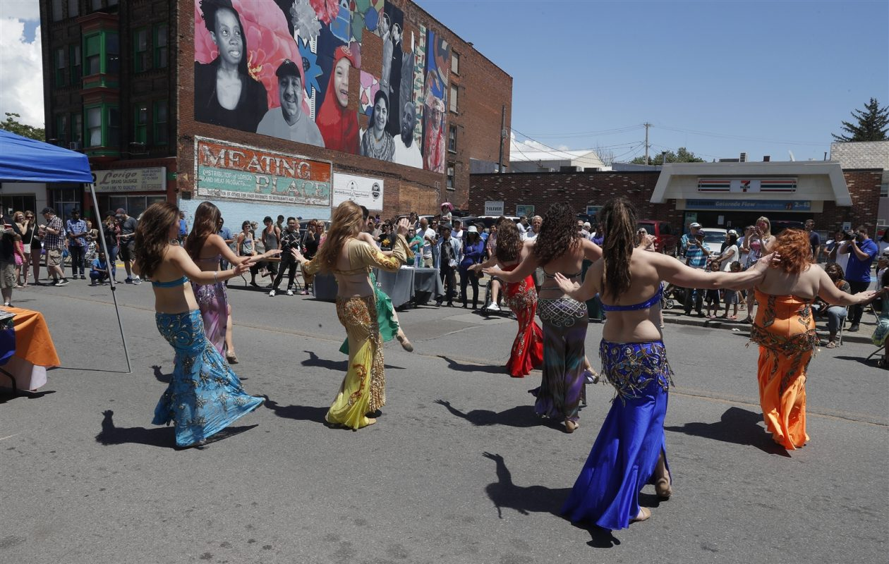 Oasis Dance Center perform an Egyptian dance at a Taste of Diversity Festival. (John Hickey/Buffalo News)
