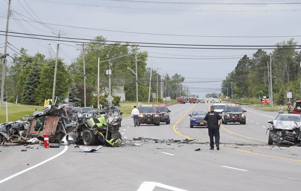 The accident scene on Route 20 in front of the YMCA in West Seneca on Saturday, June 15, 2019. (Robert Kirkham/Buffalo News)
