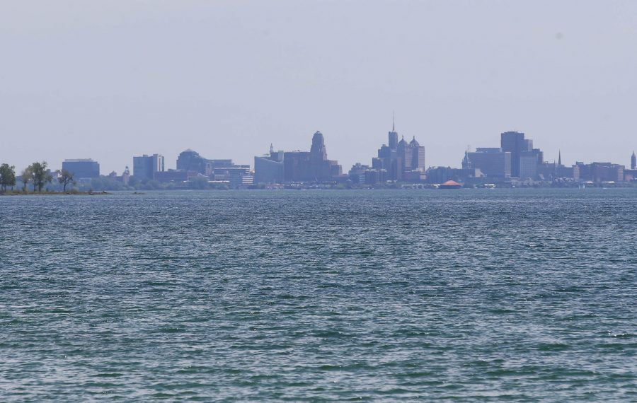 So close and yet so far: The view of the Buffalo skyline from the Canadian side of Lake Erie. (Sharon Cantillon/Buffalo News)