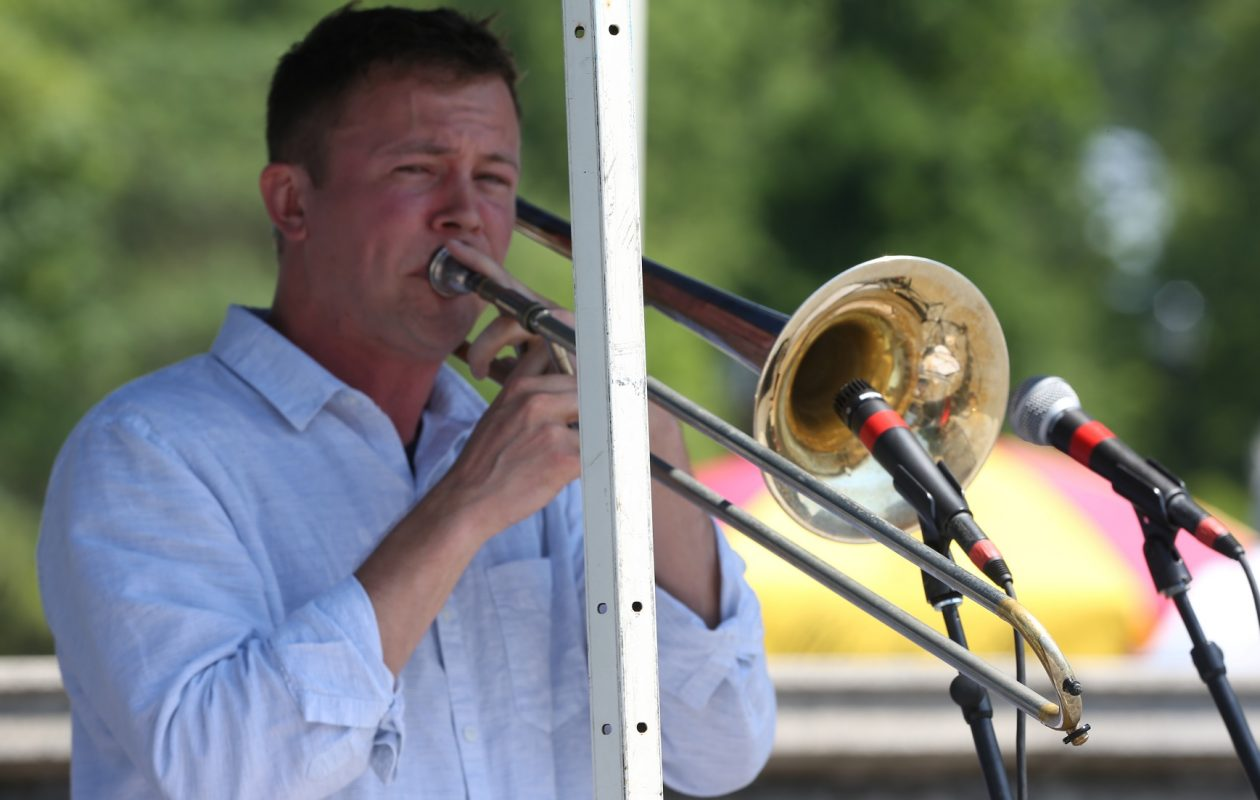 Trombonist Brendan Lanighan leads his sextet in the first Jazz at the Albright Knox concert of the summer. (John Hickey/Buffalo News)