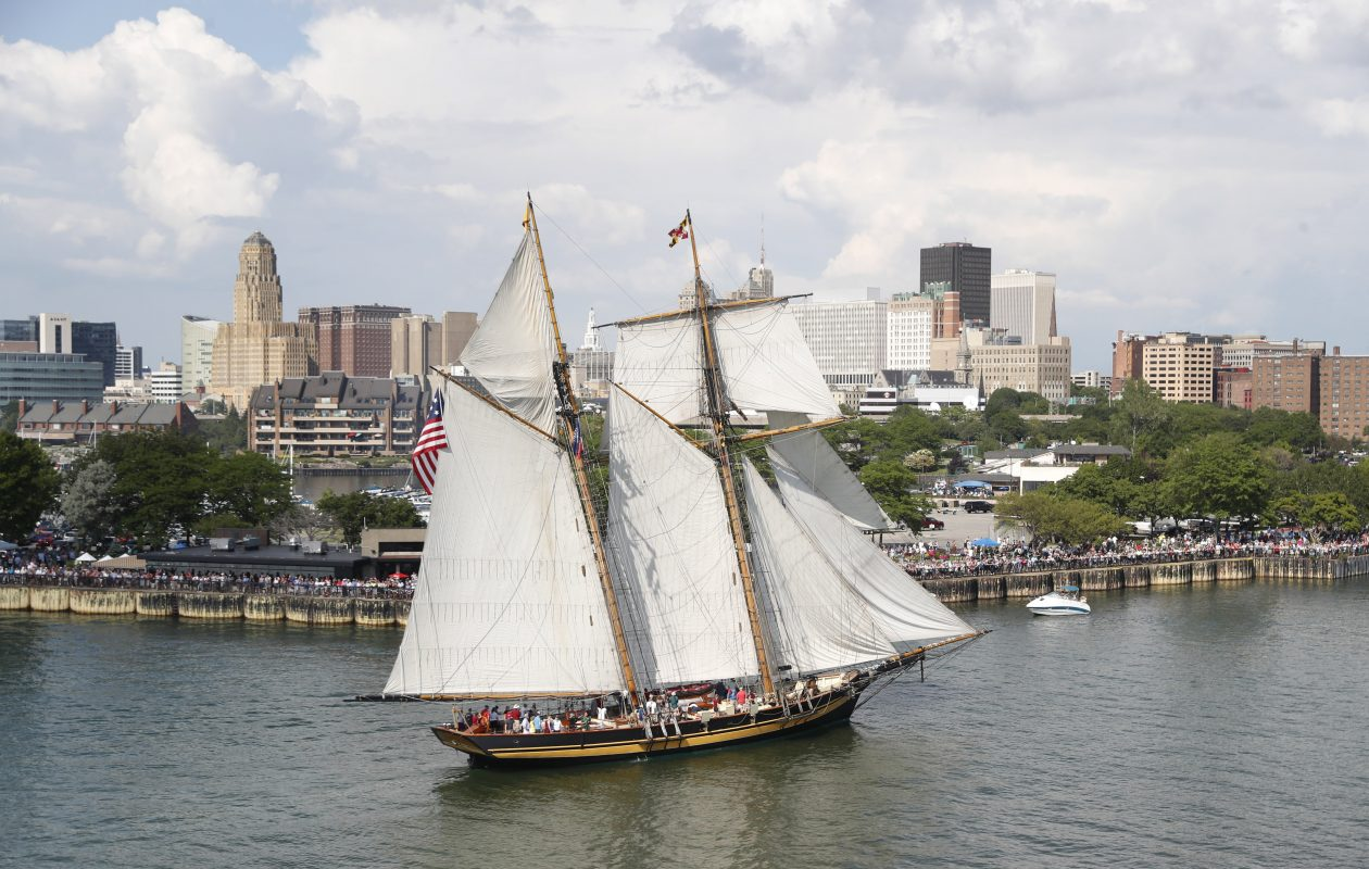 Tall ships come to Canalside during the Parade of Sail for 'Basil Port of Call: Buffalo' on Thursday, July 4, 2019. The Pride of Baltimore II heads down the Buffalo River to Canalside. (Sharon Cantillon/Buffalo News)