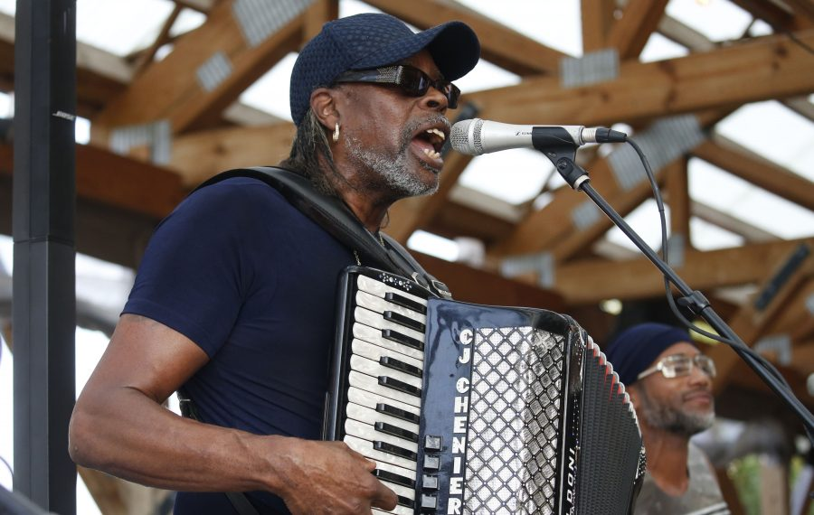 C.J. Chenier and his Red Hot Louisiana Band entertained the crowd with zydeco music as part of the Big Easy in Buffalo Night at Larkinville. (Robert Kirkham/Buffalo News)