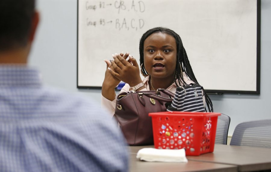 Sydney Favors, part of the inaugural class of a University at Buffalo teacher residency program, says African American girls need to see more people like her at the head of the classroom. (Robert Kirkham/Buffalo News)