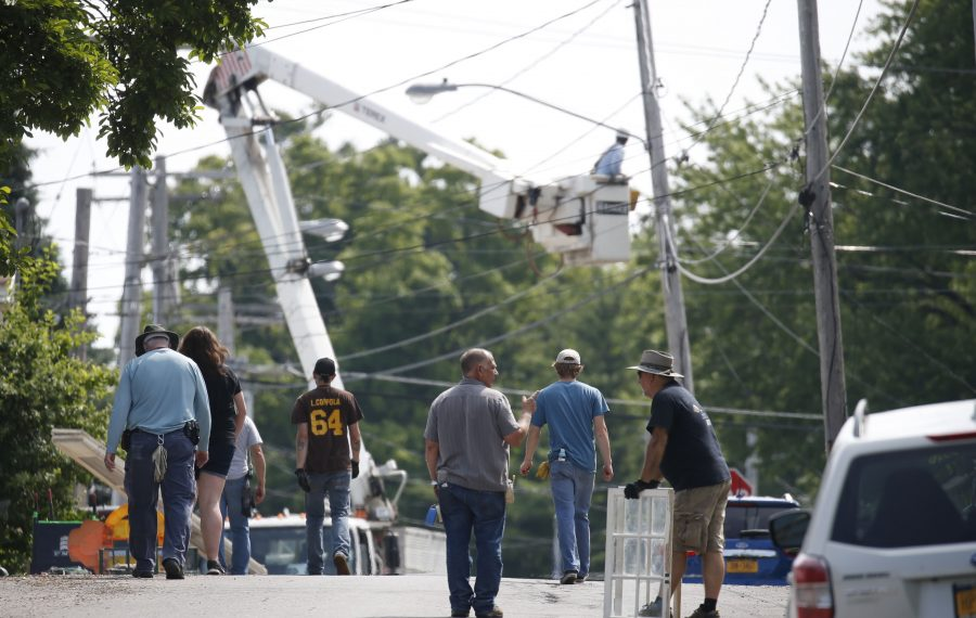 """Hollywood film crews in Olcott prepare for shooting on the movie """"A Quiet Place 2"""" on Tuesday, July 9, 2019. (Robert Kirkham/Buffalo News)"""
