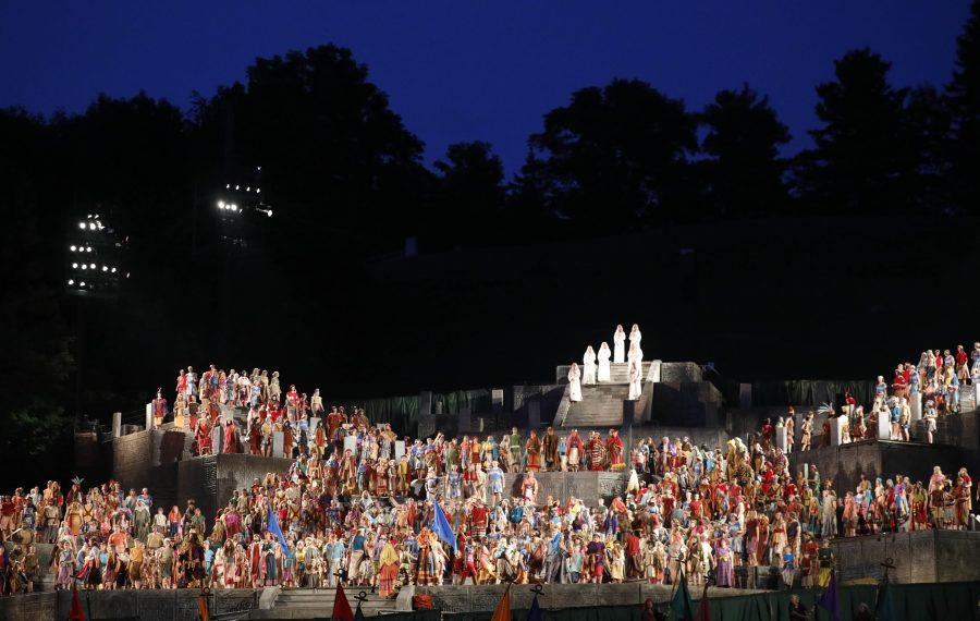 Over 750 actors and 200 crew members from around the world volunteer to put on the Hill Cumorah Pageant at the sacred Church of Latter-day Saints site in Palmyra, Wednesday, July 10, 2019. (Derek Gee/Buffalo News)
