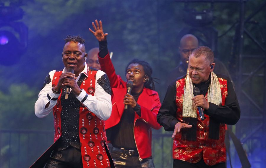 Philip Bailey, left, and Ralph Johnson lead the vocals for Earth Wind &  Fire during a sold-out show at Artpark. (Robert Kirkham/Buffalo News)