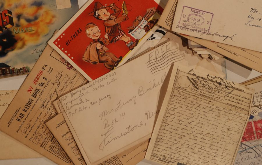 """""""Forget Me Not"""" by Diane Almeter Jones is based on the letters, many seen here, written between her grandparents. (Sharon Cantillon/Buffalo News)"""