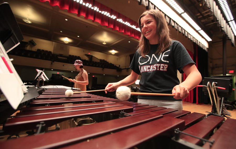Lancaster Marching Legends member Hannah Meyer rehearses during practice at Lancaster Middle School on Thursday, July 18, 2019. (Harry Scull Jr./Buffalo News)