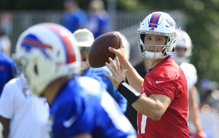 Buffalo Bills quarterback Josh Allen throws during training camp on Thursday, July 25, 2019. (Harry Scull Jr./Buffalo News)