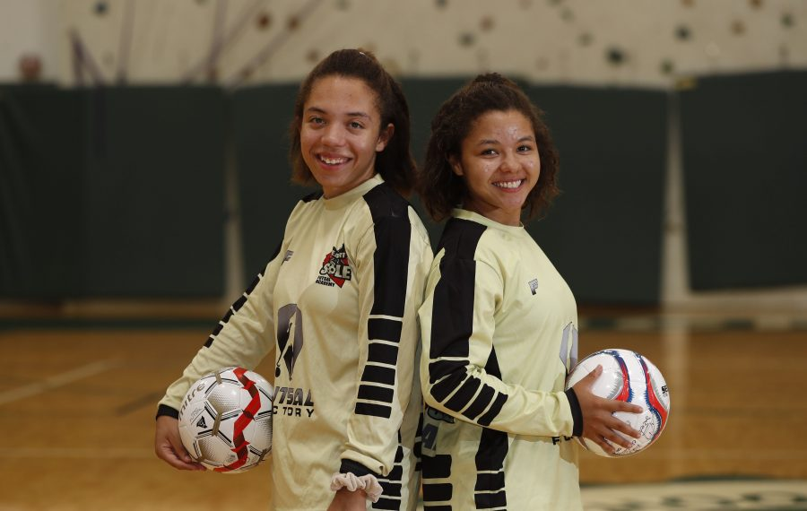 Former NIchols soccer players, twins Marisa, left and Camryn Warren are the first WNY players selected to the US Youth Futsal National Team and they will represent the US in international matches July 24-August 1 in Argentina. Photo taken at Nichols, Thursday, July 18, 2019. (Sharon Cantillon/Buffalo News)