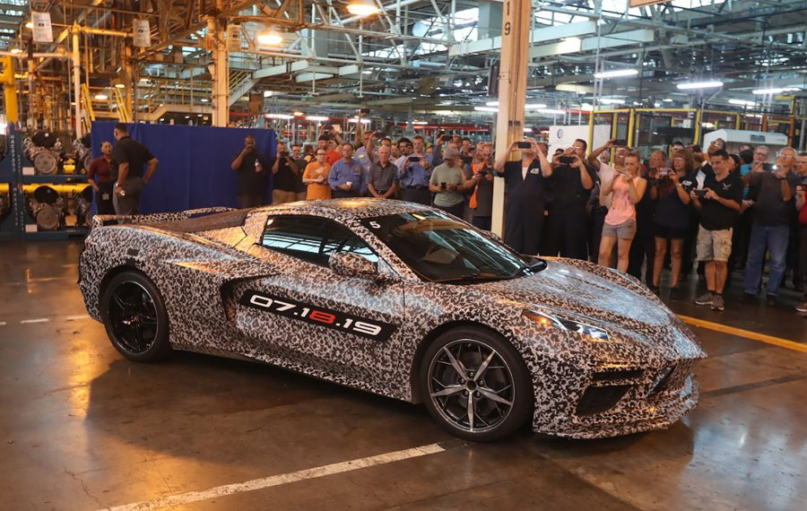 The new 2020 Corvette Stingray, unveiled July 23 at the GM Tonawanda Engine Plant. (John Hickey/Buffalo News)