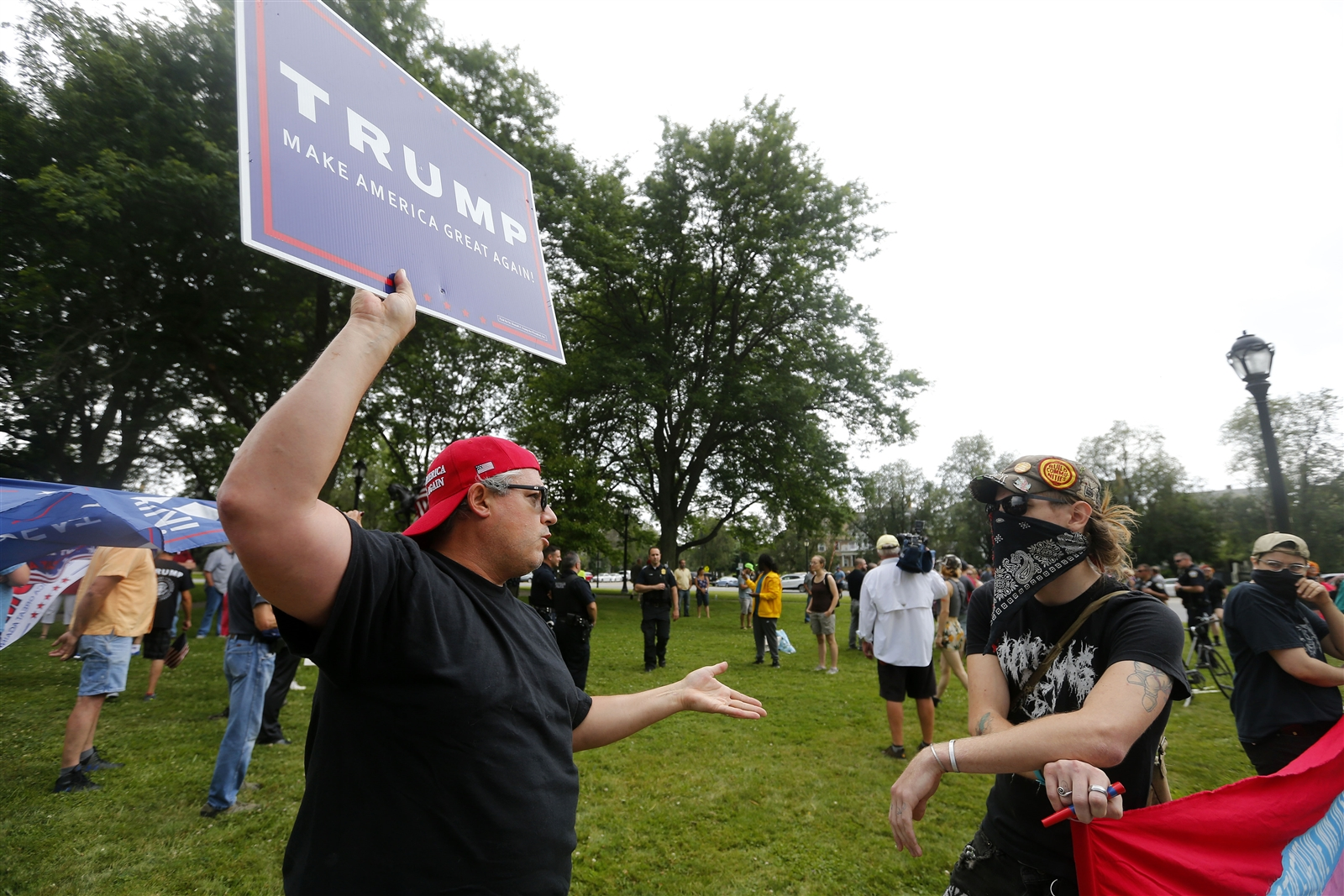 Buffalo groups held two rallies on Sunday, one supporting President Donald Trump in Colonial Circle, and one against Trump on Bidwell Parkway. Tensions were high, with a fist-fight erupting during one of the rallies.