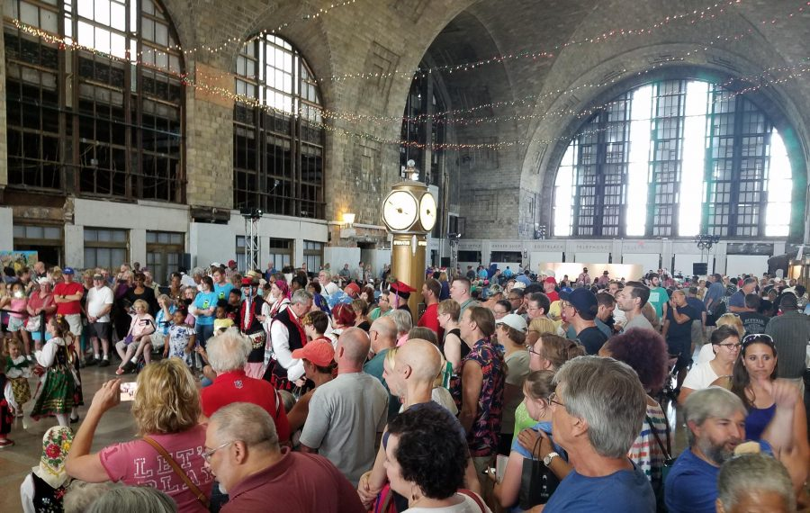Crowds were so abundant Saturday at the first East Side Festival in the Central Terminal that it was hard to hear the tour guides. (Thomas J. Prohaska/Buffalo News)