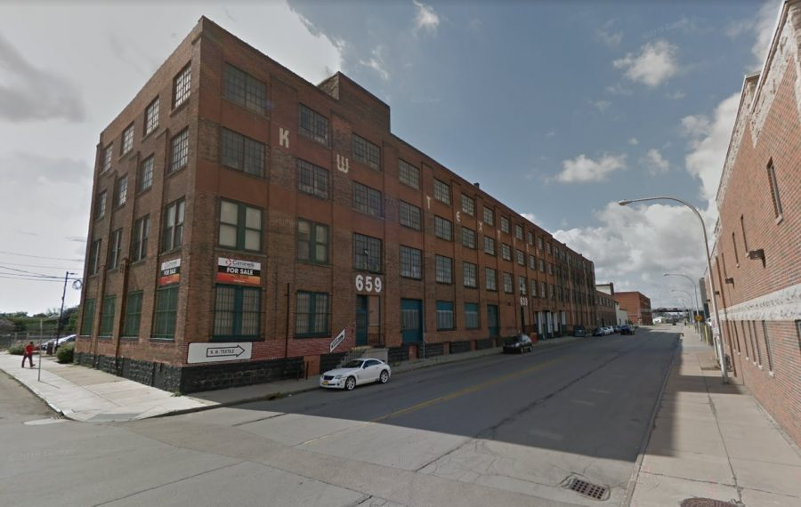 This longtime industrial building at 619 Exchange St. is being targeted for redevelopment by Rochester's Park Grove Realty. (Google)