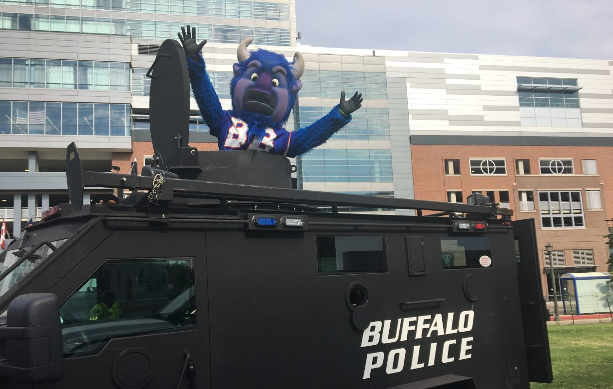 The Buffalo Bills mascot pops out of the top of the Buffalo Police Department SWAT truck, which will be part of the (716) Day celebration. (Provided by Buffalo Police Department)
