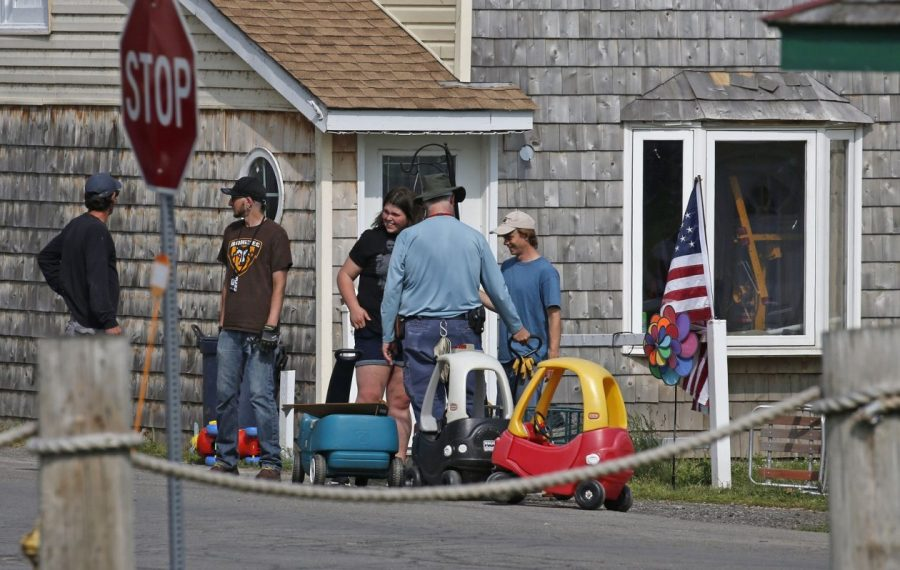"""A film crew in Olcott on July 9, 2019, readies Ontario Street for shooting of scenes for """"A Quiet Place 2."""" (Robert Kirkham/Buffalo News)"""
