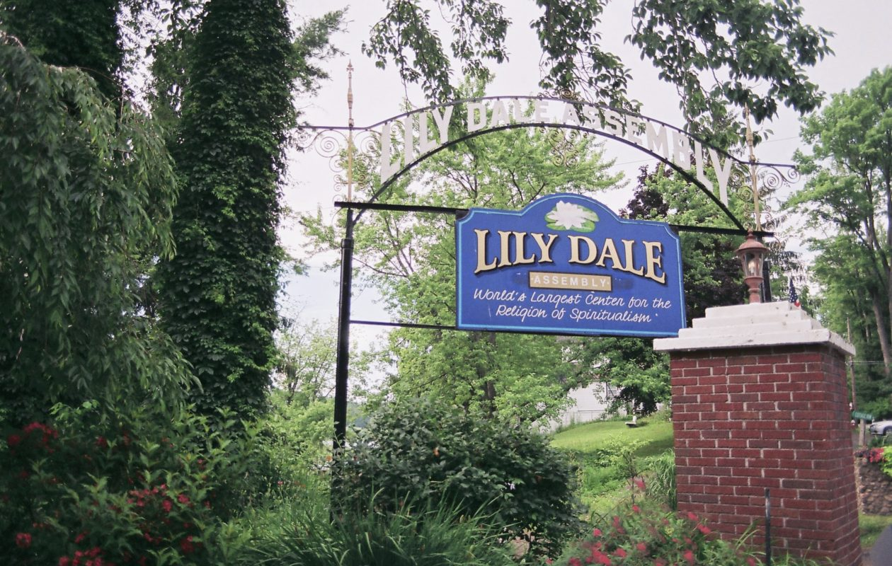Enter the gates of Lily Dale after paying $15. (Francesca Bond/Buffalo News)