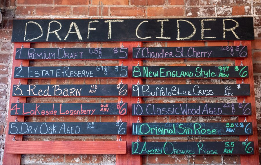 Buffalo Cider Hall in Chandlerville features a rotating draft list, and their bartenders are happy to help introduce you to the spiked beverage. (Matt Weinberg)