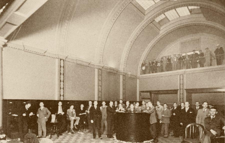 The floor of the Buffalo Stock Exchange, 1929.