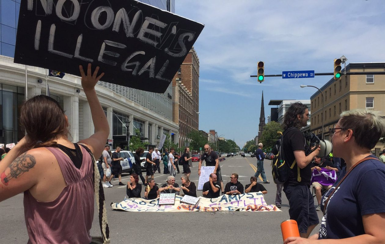 Nine people were arrested Thursday in downtown Buffalo at a protest against migrant detention camps at the southern border. (Maki Becker/Buffalo News)
