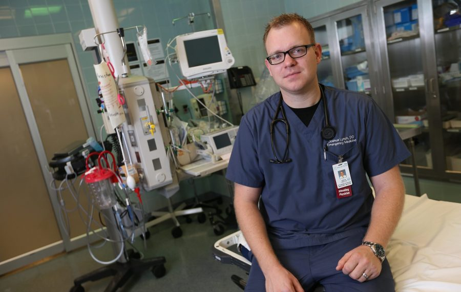 """""""If somebody comes in with chest pain, we would never just blow them off and send them home,"""" said Dr. Joshua Lynch, a UBMD emergency medicine physician who led the creation of Buffalo MATTERS, a novel program to better address opioid overdose and withdrawal treatment in hospitals across the region. (Sharon Cantillon/News file photo)"""