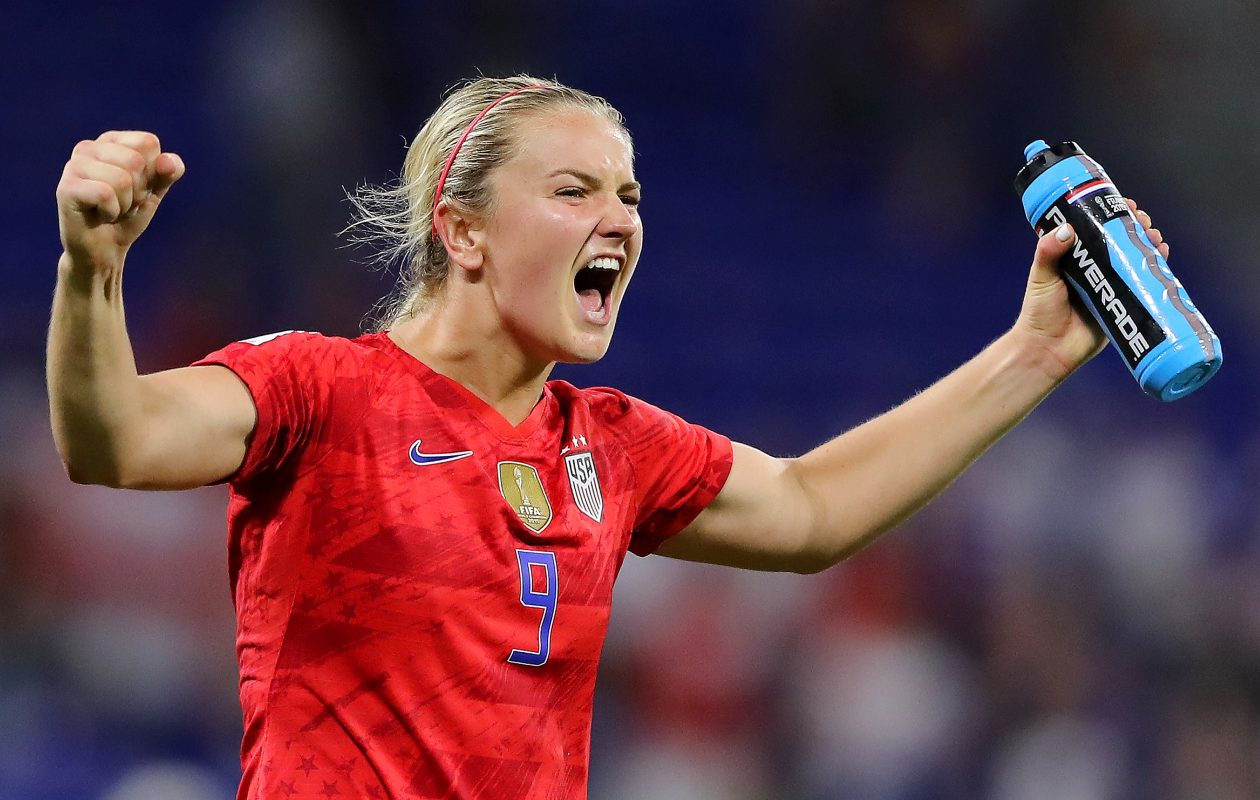 Lindsey Horan of the USA  celebrates following the semifinal win against England (Elsa/Getty Images)