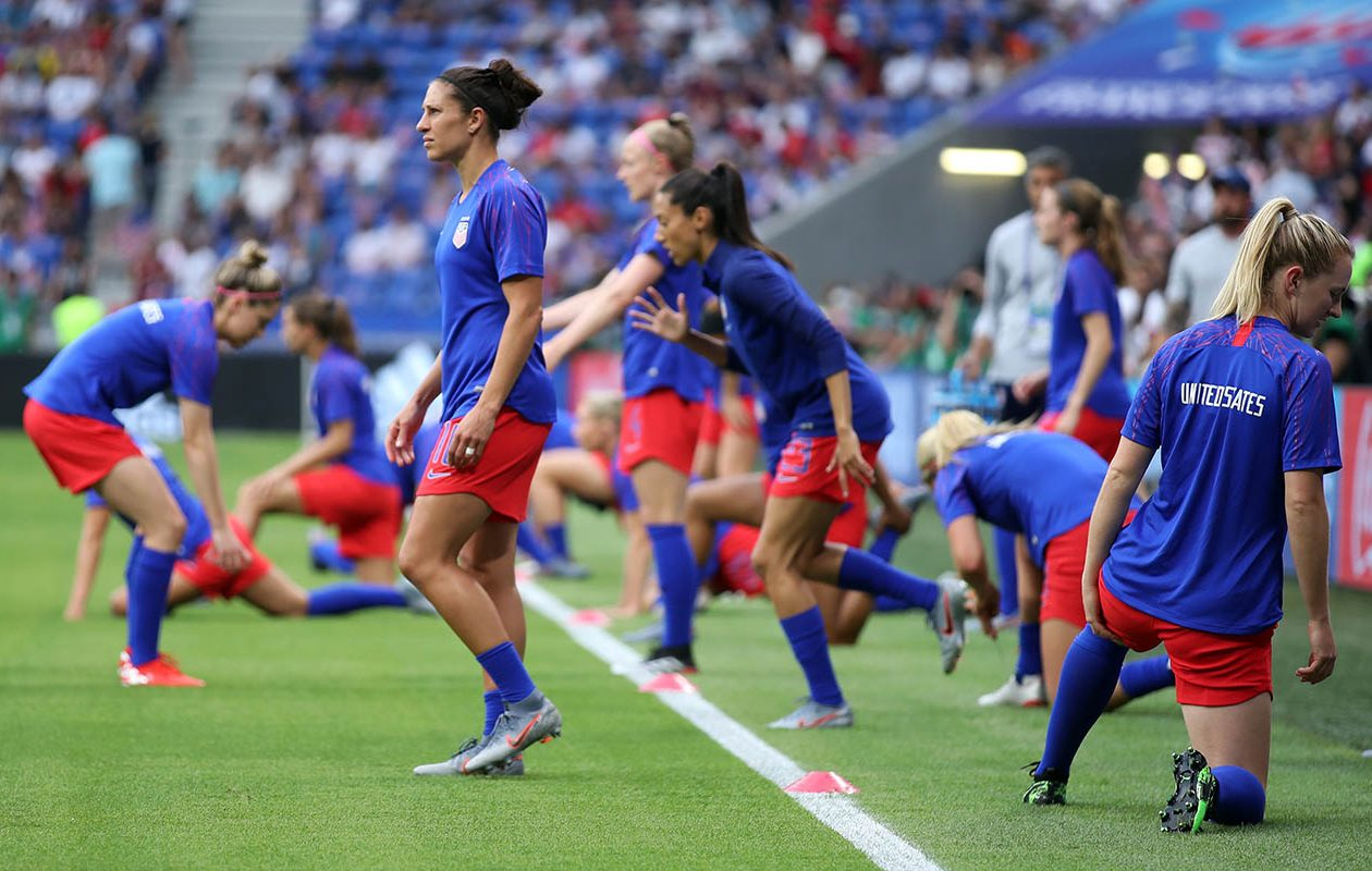 Team USA warms up for a 2019 FIFA Women's World Cup match. (Alex Grimm/Getty Images)