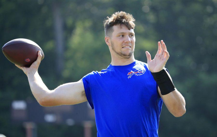 Bills quarterback Josh Allen at training camp. (Harry Scull Jr./Buffalo News)