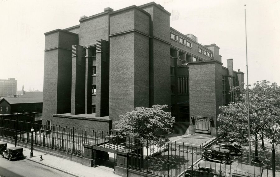 All that remains of Frank Lloyd Wright's fabled 1906 office building for Larkin Soap Company is a solitary brick pier abutting a parking lot. The headquarters, demolished in 1950, was renowned for its forward-thinking design, which included a five-story atrium. (Buffalo History Museum / Katie Addo)