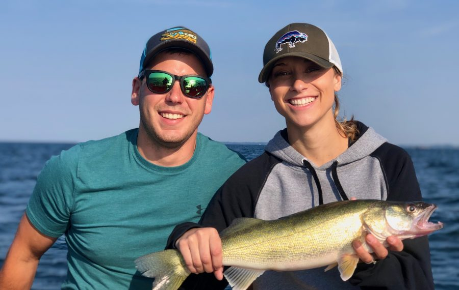 Kyle and Megan Gordon from Buffalo caught this walleye in Lake Erie this week. Good walleye fishing is continuing in the lake. (Photo courtesy Ryan Shea)