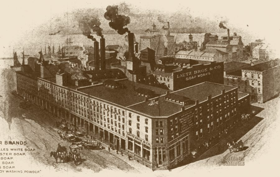 Thick, black smoke leaves the smokestacks of Lautz Bros. on Hanover Street, which sat where Canalside is now.
