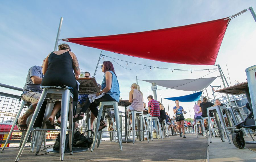 Savor fresh seafood dishes with waterfront views from the patio at Liberty Hound. (Dave Jarosz)