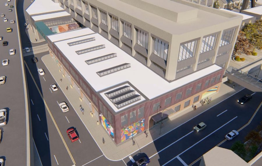 A rendering of the plans for Seneca One, with new murals along the street and new footbridges. (Image courtesy of the Buffalo Planning Board)