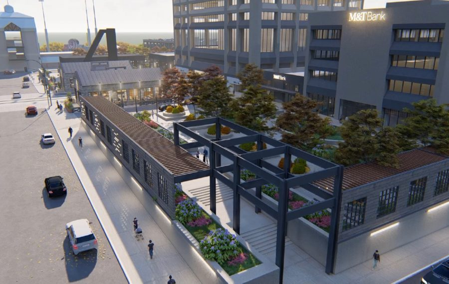 Rendering of Seneca One's plaza level along Seneca Street, with M&T Bank emblazoned on the building. (Courtesy of Buffalo Planning Board)
