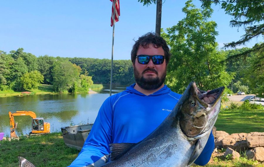 Zack Blain of Honeoye caught this 29-pound, 10-ounce king salmon to win the Grand Prize in the Summer LOC Derby by one ounce on the final weekend of the contest. (Photo courtesy LOC Derby)