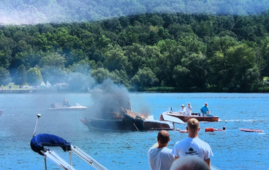 A classic boat exploded as the 37th annual Wine Country Classic Boat Parade was getting underway on Keuka Lake Saturday. (Photo courtesy of Jack Weibel)
