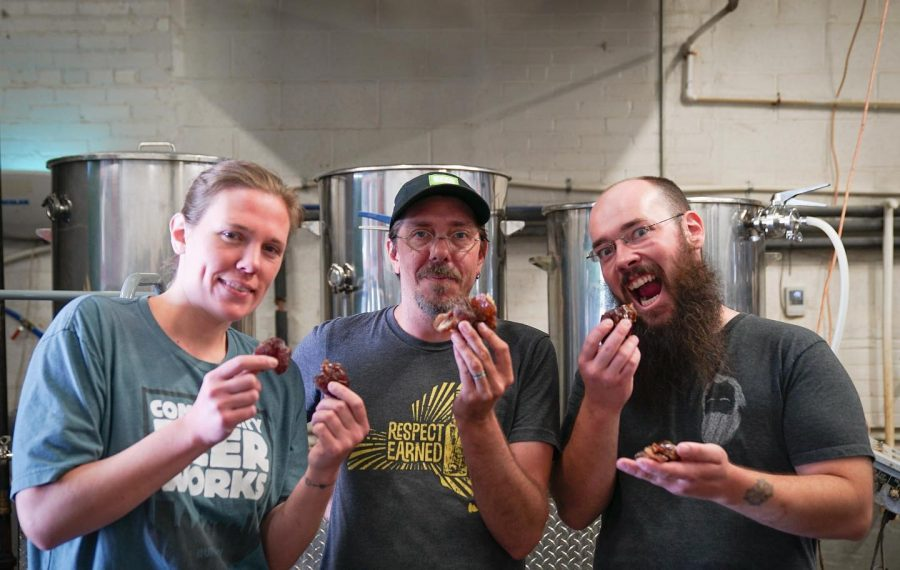 Ellen Gedra of the Black Sheep, Ethan Cox, Community Beer Works co-owner, and head brewer Robert Turley having a date before brewing duties. (Photo courtesy of Mike West)