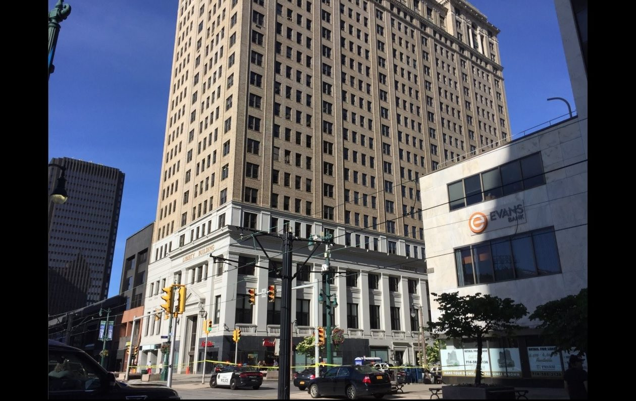 A man apparently jumped from the Liberty Building on Monday morning, killing himself, Buffalo police said. (Aaron Besecker/Buffalo News)