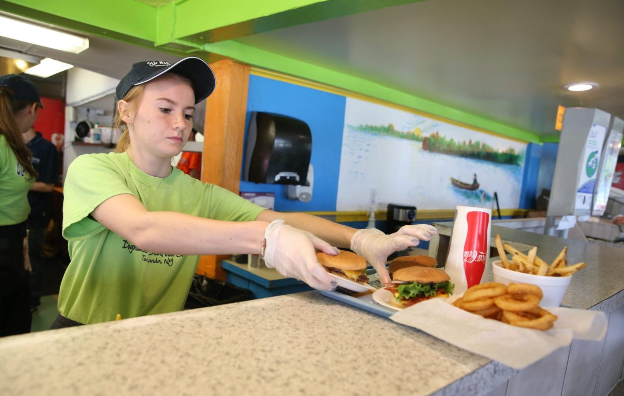 Old Man River, a City of Tonawanda eatery, hires a slew of teens each year. This was Paula Pinkert in 2015.  (Sharon Cantillon/News file photo)