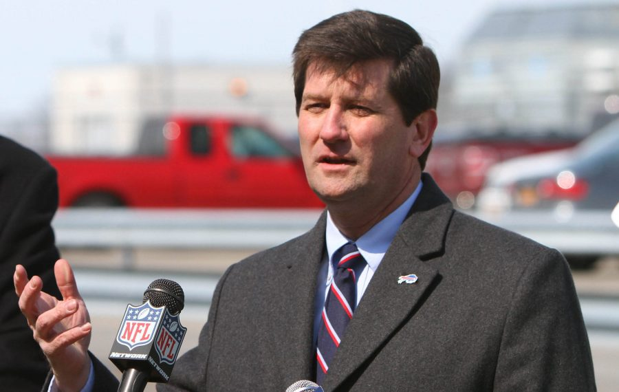 County Executive Mark Poloncarz speaks with the media after touring the renovations at Ralph Wilson Stadium in Orchard Park in March 2014. (Mark Mulville/Buffalo News)