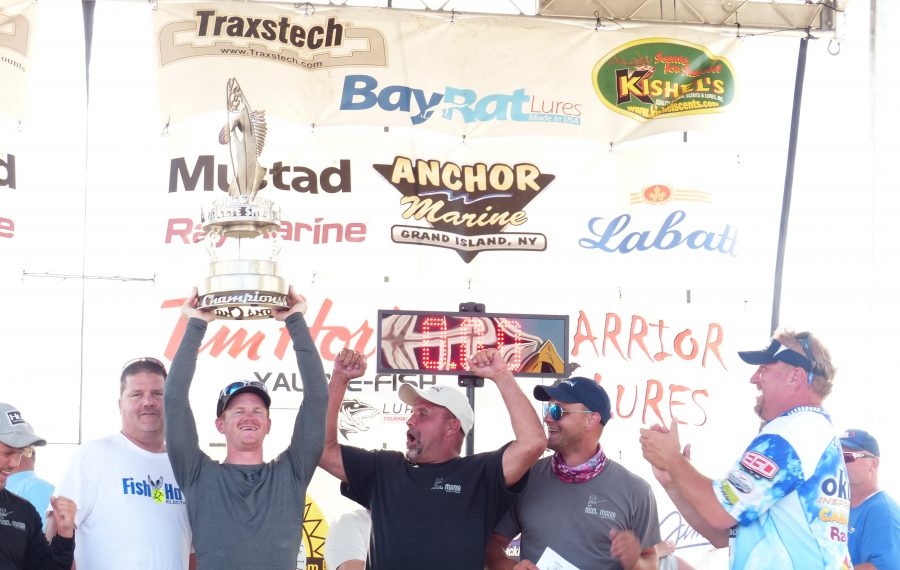Reel Mania celebrates its victory in the Sunset Bay Walleye Shoot Out.