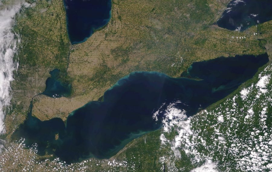 Lake Erie, as seen from space. (NOAA MODIS image)