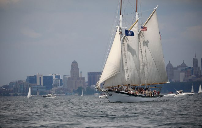 Crowds explore the tall ships along Canalside on Friday. (Harry Scull Jr./Buffalo News)
