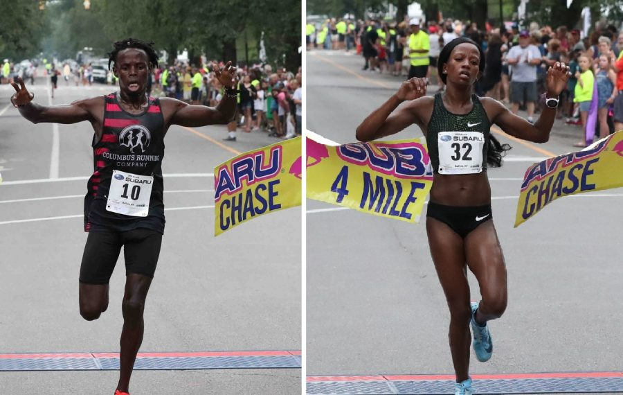James Ngandu, a native of Kenya and former Division II All-American at Tiffin University, won the men's division of the Chase while Monicah Ngige, a Kenya native who lives in Lansing, Mich., won the women's division. (James P. McCoy/Buffalo News)