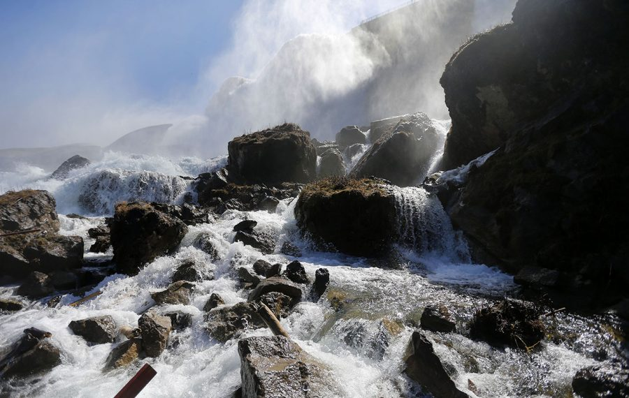 Water rushes over Niagara Falls at the base of the Cave of the Winds. (Mark Mulville/News file photo)