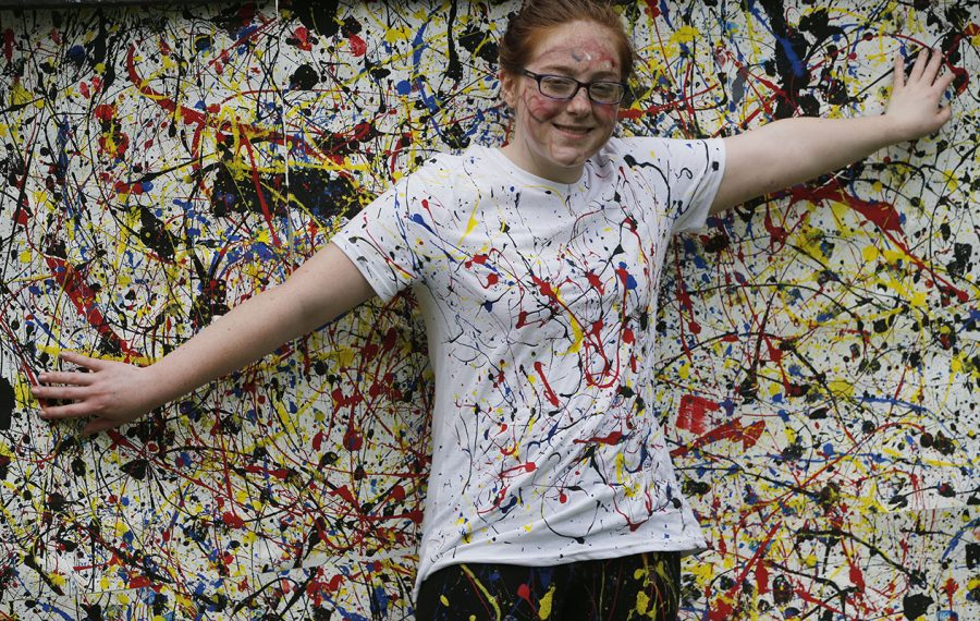 "Jackson Pollock's ""Convergence"" is brought to life during Art Alive at the Albright-Knox Art Gallery grounds. (Derek Gee/Buffalo News)"